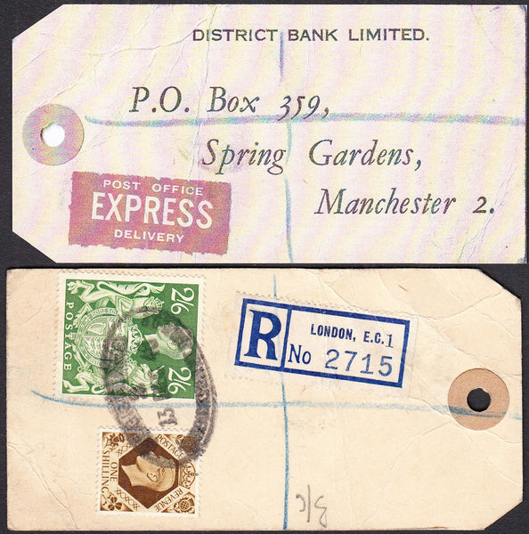 "74827 - ""BANKER'S PARCEL TAG"". 1948 parcel tag London to ""..."