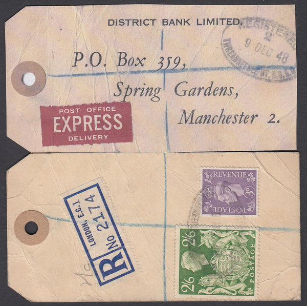 "74829 - ""BANKER'S PARCEL TAG"". 1948 tag London to ""Distric..."