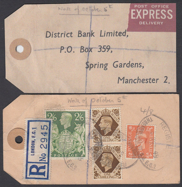 "74832 - ""BANKER'S PARCEL TAG"". 1949 tag London to ""Distric..."