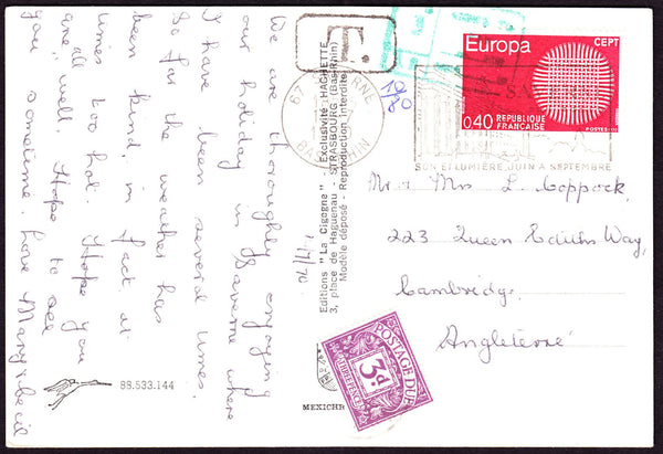 75056 - 1970 UNDERPAID MAIL FRANCE TO CAMBRIDGE. Post card from France to Cambrid...