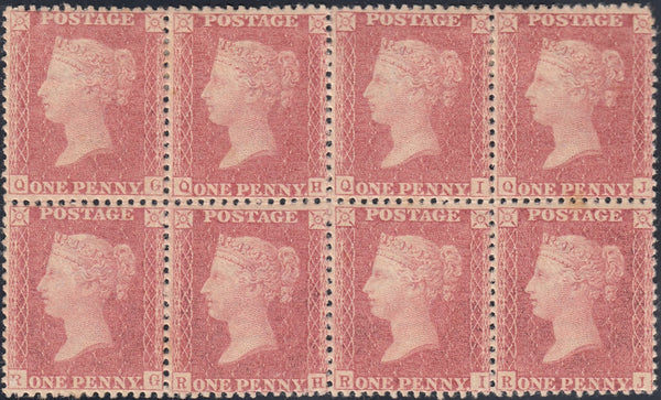 75073 1857 DIE 2 1D PL.57 (SG40) MINT BLOCK OF EIGHT.