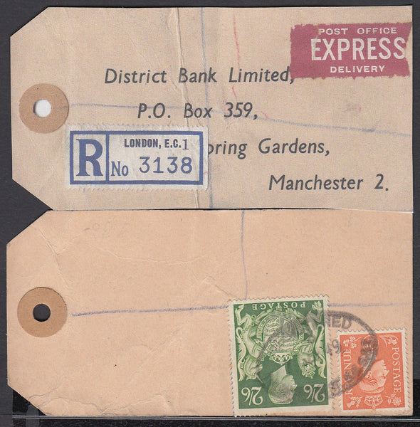 "75161 - ""BANKER'S PARCEL TAG"". 1949 parcel tag London to ""..."
