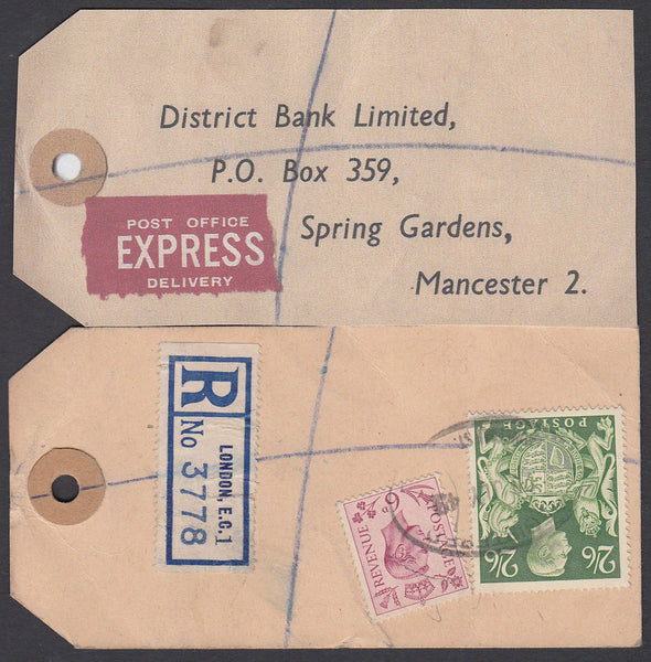 "75162 - ""BANKER'S PARCEL TAG"". 1949 parcel tag London to ""..."