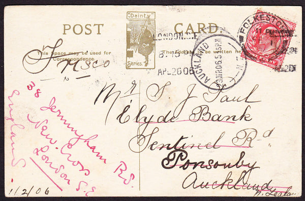 "75219 - 1906 ""ROUND THE WORLD"" POSTCARD FROM FOLKESTONE. Fine post card fro..."