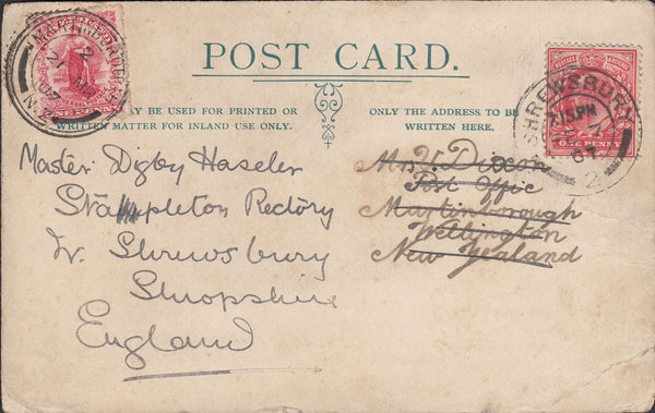 "75220 - 1907 ""ROUND THE WORLD"" MAIL FROM SHREWSBURY. Post ca..."