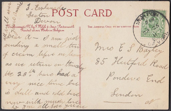 75278 - DEVON - SEATON SKELETON. 1911 post card of Sidmout...