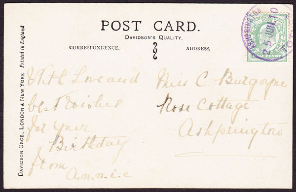 75297 - DEVON - ASHPRINGTON. 1910 post card used locally w...