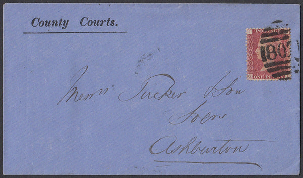 75333 - 1875 DEVON/PL.138(SG43)(GI)/'COUNTY COURTS'/'807' 4VOS BARRED NUMERAL OF TOTNES. 18...