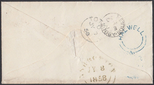 "75383 - 1858 DEVON/""HALWELL"" UDC IN DARK BLUE. 1858 envelope T..."