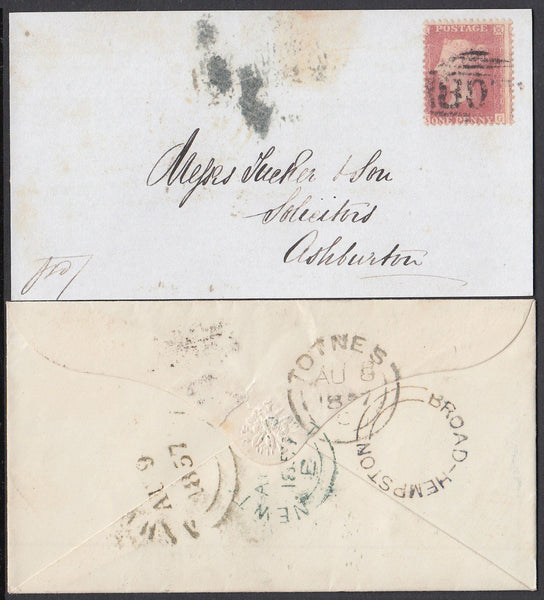 75396 - 1857 DEVON/'BROAD-HEMPSTON' UDC IN BLACK. Envelop...