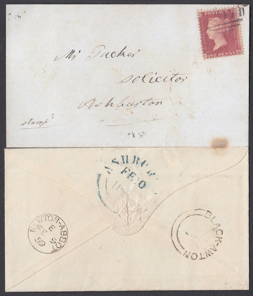 75399 - 1859 DEVON/'BLACK-AWTON' UDC.  Envelope T...