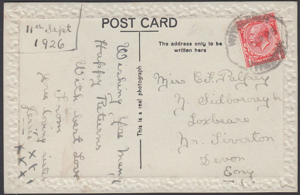 75427 - DEVON. 1926 post card to Tiverton with KGV 1d canc...
