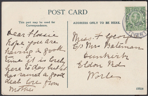 75432 - DEVON. 1917 post card of Tiverton to Worle with KG...