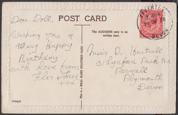 75438 - DEVON. 1928 post card to Plymouth with KGV 1d canc...