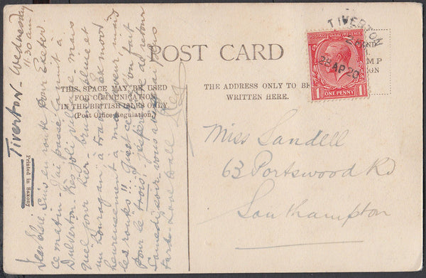 75455 - DEVON. 1920 post card of Dulverton with KGV 1d can...