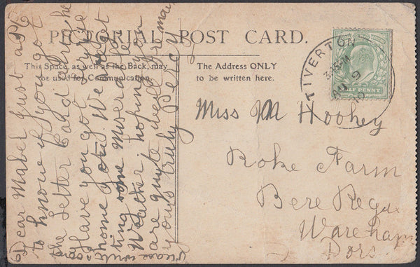 75460 - DEVON. 1910 post card of Minehead Church (creased)...