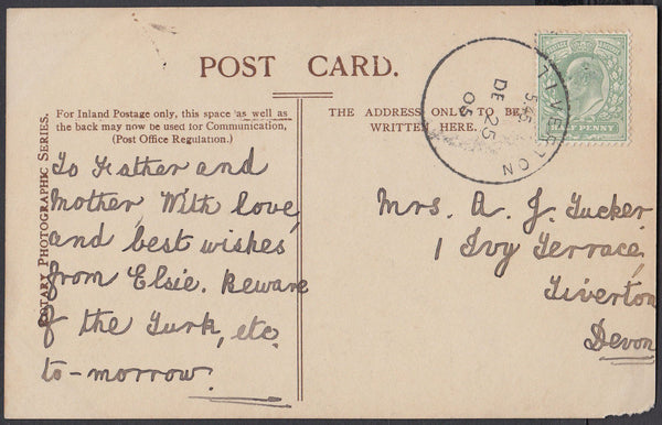 75465 - DEVON. 1905 post card used locally in Tiverton wit...