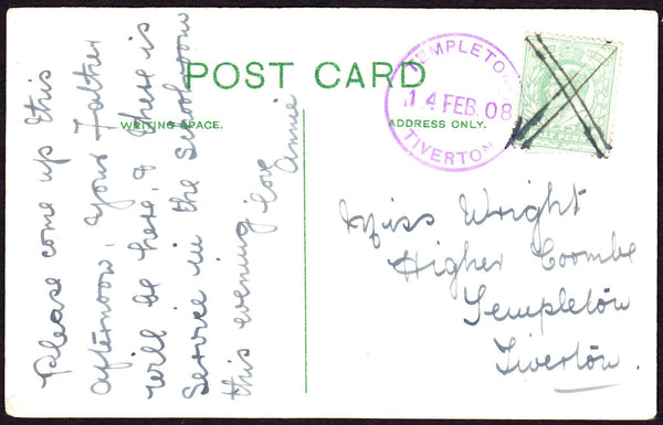 75473 - DEVON. 1908 post card of Hastings to Tiverton with...