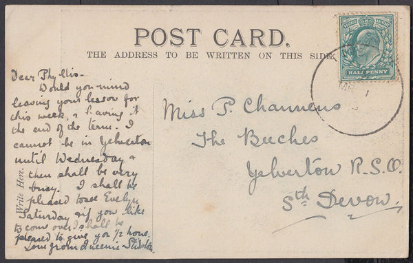 75474 - DEVON. 1903 post card with KEDVII ½d cancelled lig...