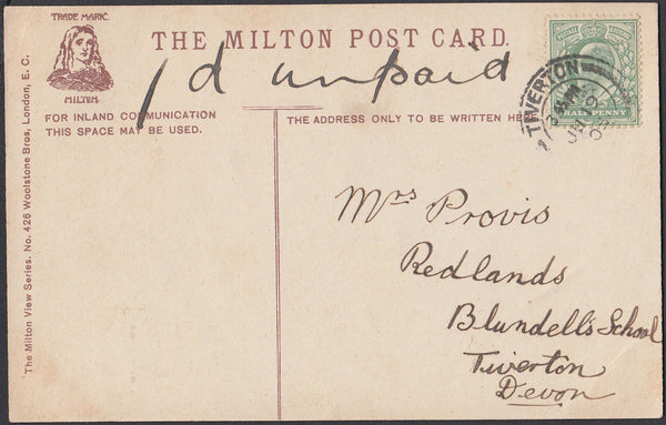 75476 - 1905 UNDERPAID MAIL USED LOCALLY IN TIVERTON. Post card