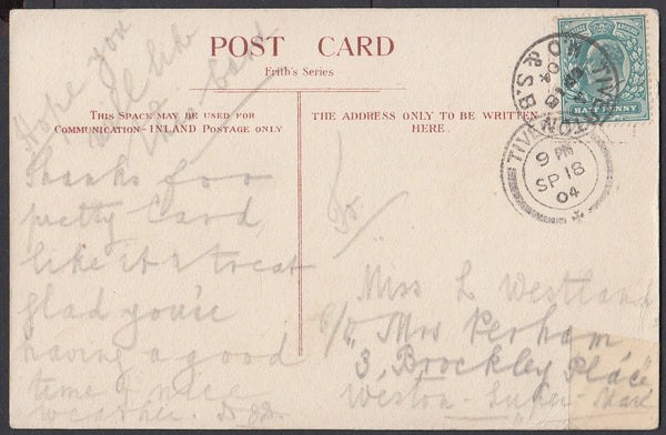 75477 - DEVON. 1908 post card of Tiverton to Weston Super ...