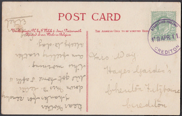 75482 - DEVON. 1911 post card of Exmouth with KEDVII ½d ca...