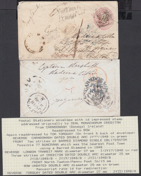 75506 - DEVON. 1848 1d pink envelope from Carndonagh (Irel...