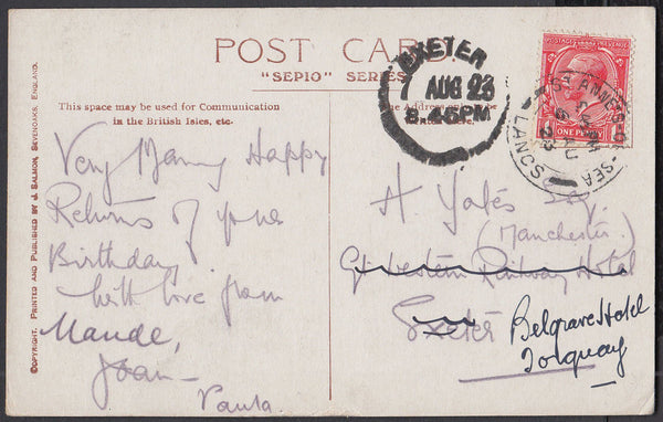 75512 - DEVON. 1923 post card from St Anne's Lancs to Exet...