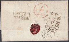 75528 - 1833 DEVON/EXETER PENNY POST. Wrapper Exeter to Lo...