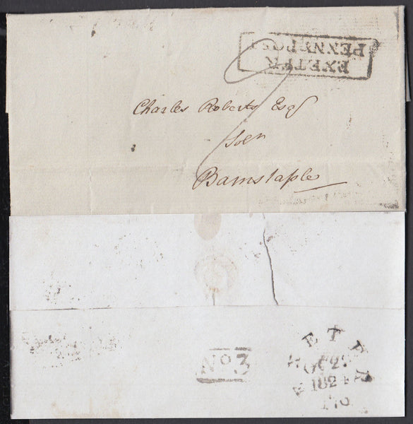 75534 - DEVON/EXETER PENNY POST. Letter Exeter to Bar...