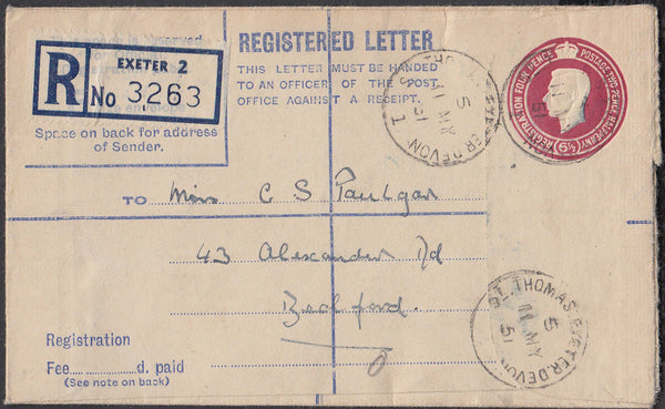 75544 - DEVON/REGISTERED MAIL. 1951 KGVI 6½d registered en...