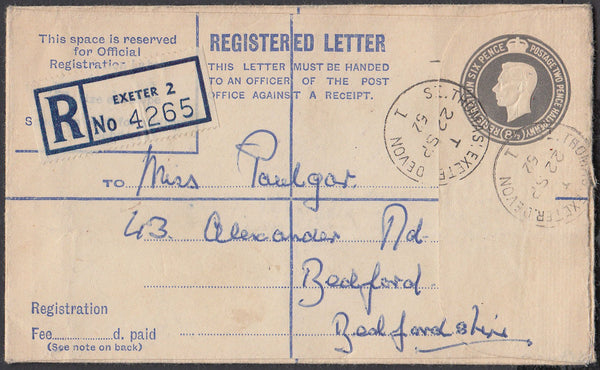 75545 - DEVON/REGISTERED MAIL. 1952 8½d grey registered en...