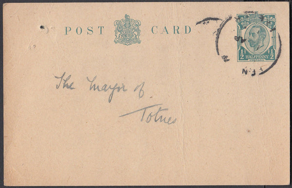 75553 - DEVON. Circa 1912 KGV ½d Downey post card (bend) t...