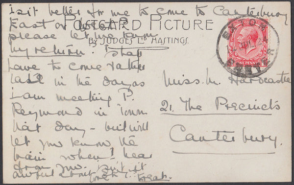 75558 - DEVON. 1924 post card Exeter to Canterbury with KG...