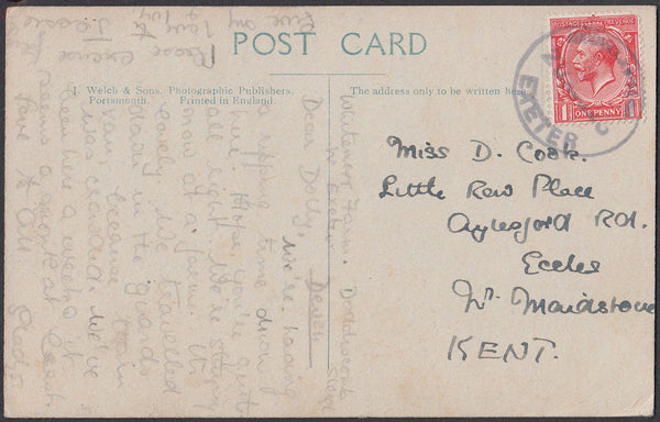 75560 - DEVON. 1925 post card of Northernhay, Exeter to Ke...