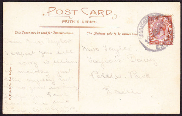 75564 - DEVON. 1921 post card of Fingle Bridge to Exeter w...