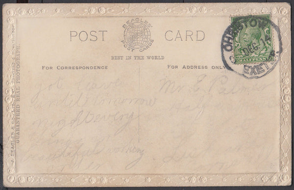 75570 - DEVON. 1914 post card to Liskeard with KGV ½d canc...