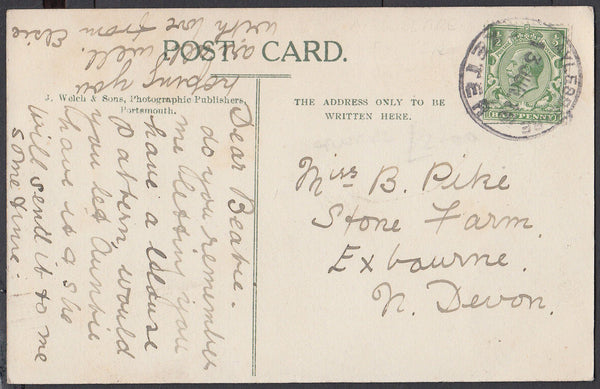 75576 - DEVON. 1916 post card of Exeter to Exbourne with K...