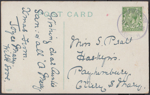 75581 - DEVON. 1913 post card to Ottery St Mary with KGV ½...