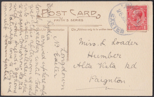 75593 - DEVON. 1922 post card of Exeter to Paignton with K...