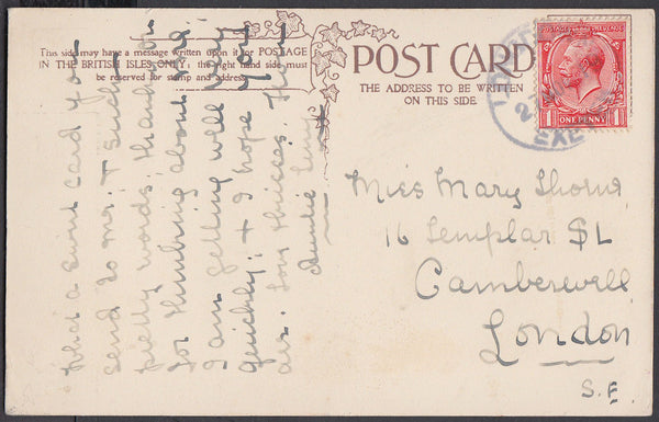 75596 - DEVON. 1919 post card to London with KGV 1d cancel...