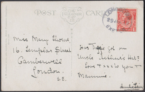 75597 - DEVON. 1919 post card to London with KGV 1d cancel...