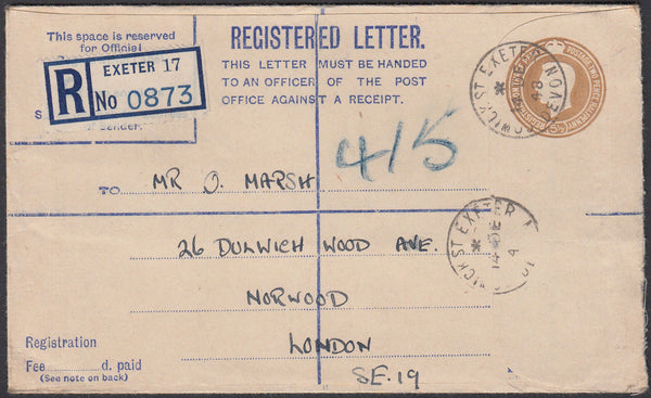 75618 - DEVON/REGISTERED MAIL. 1948 KGVI 5½d Bistre regist...