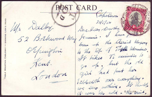 75828 - 1954 UNDERPAID MAIL SOUTH AFRICA TO LONDON. Post card South Africa to Orpington with RSA ...