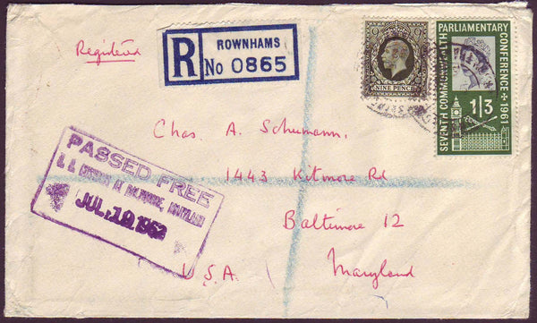 75849 - KGV 9D PHOTOGRAVURE (SG447) USED IN 1962! Envelope...