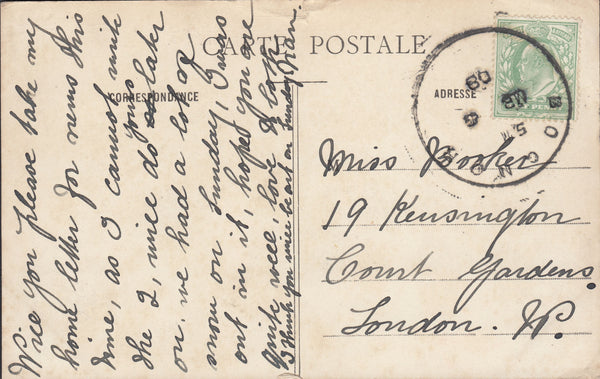 75860 - 1908 SUSSEX/'BOGNOR' SKELETON DATE STAMP. Post card of Paris to London with KED...