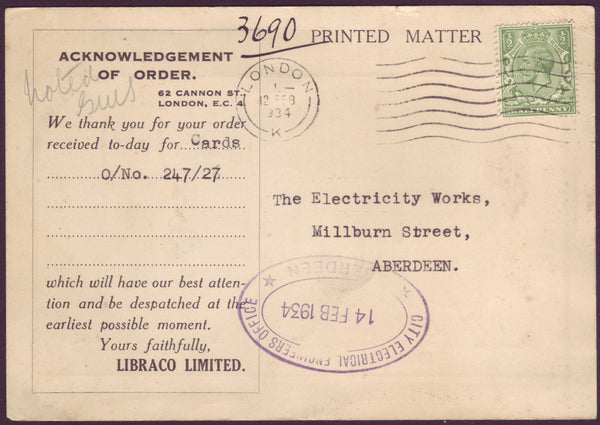 76072 - ADVERTISING. 1934 printed matter post card London ...