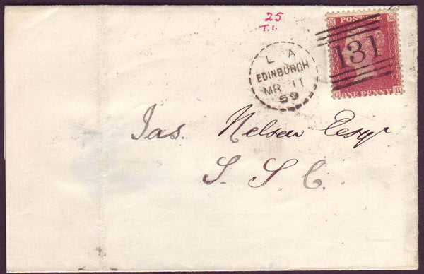 76137 - EDINBURGH DOTTED CIRCLE TYPE A1 (RA1). 1859 wrappe...