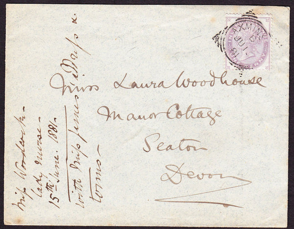 76168 - 1881 envelope Axminster to Seaton with QV 1d posta...