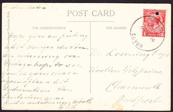 76177 - DEVON. 1926 post card of Seaton to Charmouth with ...